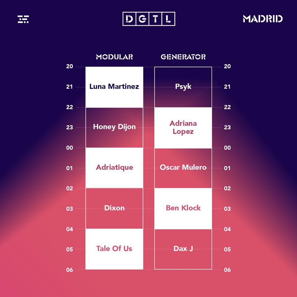 Horarios DGTL Madrid